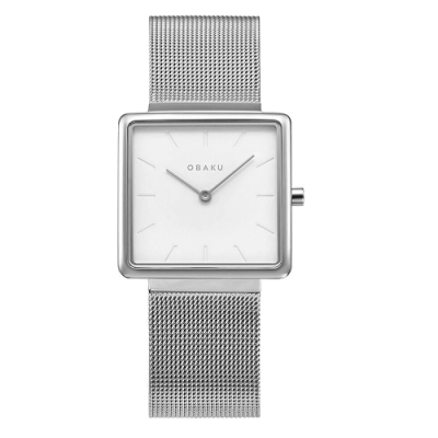 OBAKU 方型美學時尚腕錶-銀(V236LXCIMC)/28mm