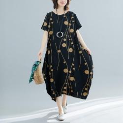 寬鬆時尚印花棉麻連身長裙M-2XL(共三色)-Keer