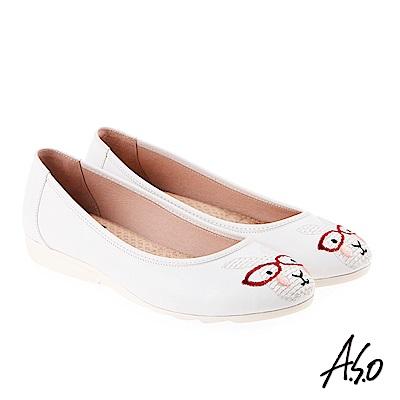 A.S.O 活耀品味 真皮柔軟刺繡娃娃鞋 白