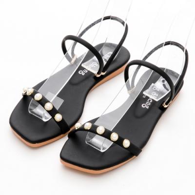 River&Moon涼鞋 台灣製一字珍珠2way方頭平底涼拖鞋 黑