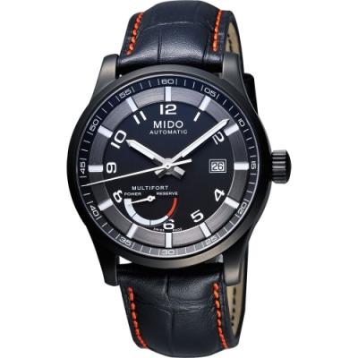 MIDO Multifort Gent 先鋒系列動力儲存機械腕錶-黑/皮帶/42mm M0054243605222