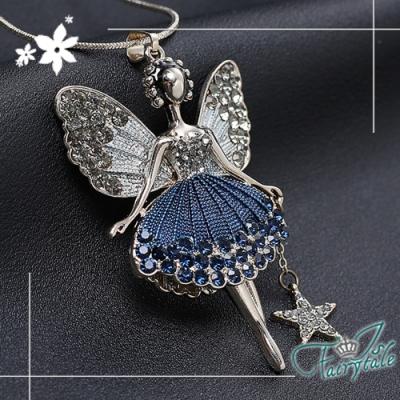 iSFairytale伊飾童話 蝴蝶仙子 藍鑽花裙灰銀長鍊
