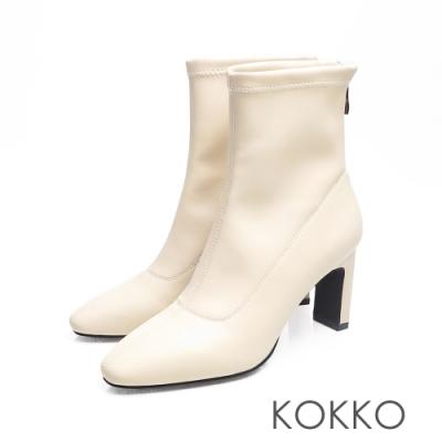 KOKKO - 完美顯瘦方頭扁跟襪靴 -白色