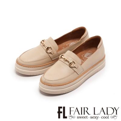 Fair Lady SoftPower軟實力馬銜釦樂福厚底休閒鞋卡其