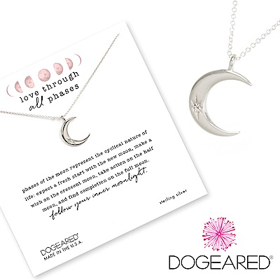 Dogeared crescent moon 鑲鑽銀色月亮項鍊 照亮我心 附原廠盒