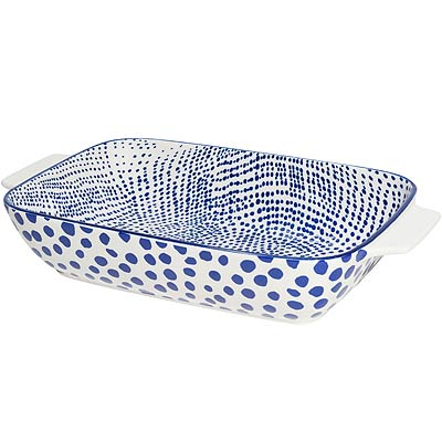 《NOW》圖騰陶瓷長形深烤盤(圓點藍L)