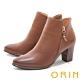 ORIN 時髦真皮拉鍊高跟 女 短靴 棕色 product thumbnail 1