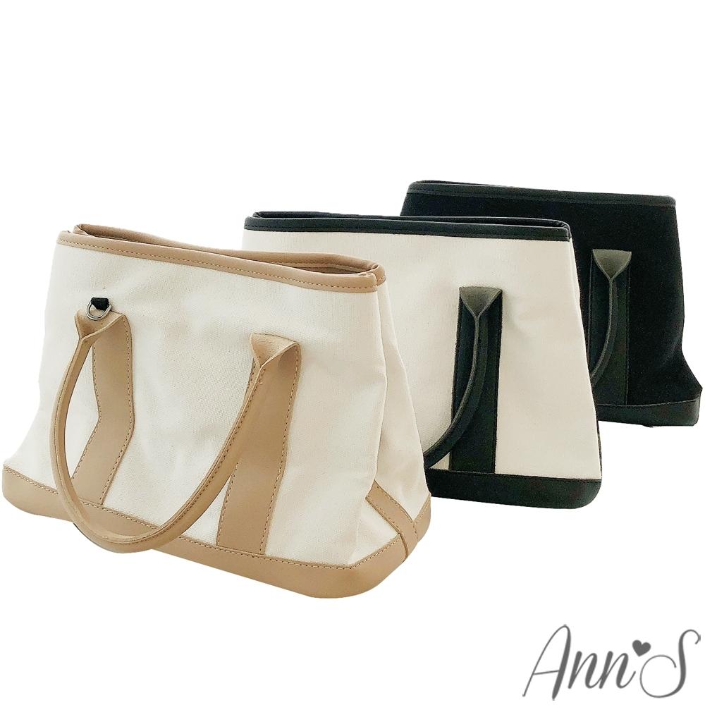 Ann'S簡約亞麻帆布梯形托特包-3色