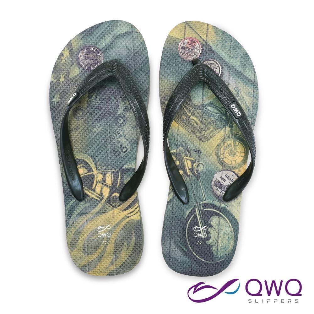 QWQ 男款休閒軟Q夾腳拖鞋-鞋帶保固-防滑耐磨-海灘拖鞋-66號公路-綠(ABBC00611)