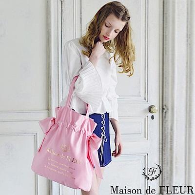 Maison de FLEUR  光澤感側邊綁帶燙金LOGO手提袋