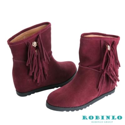 Robinlo 進口真皮內增高流蘇短靴 酒紅色
