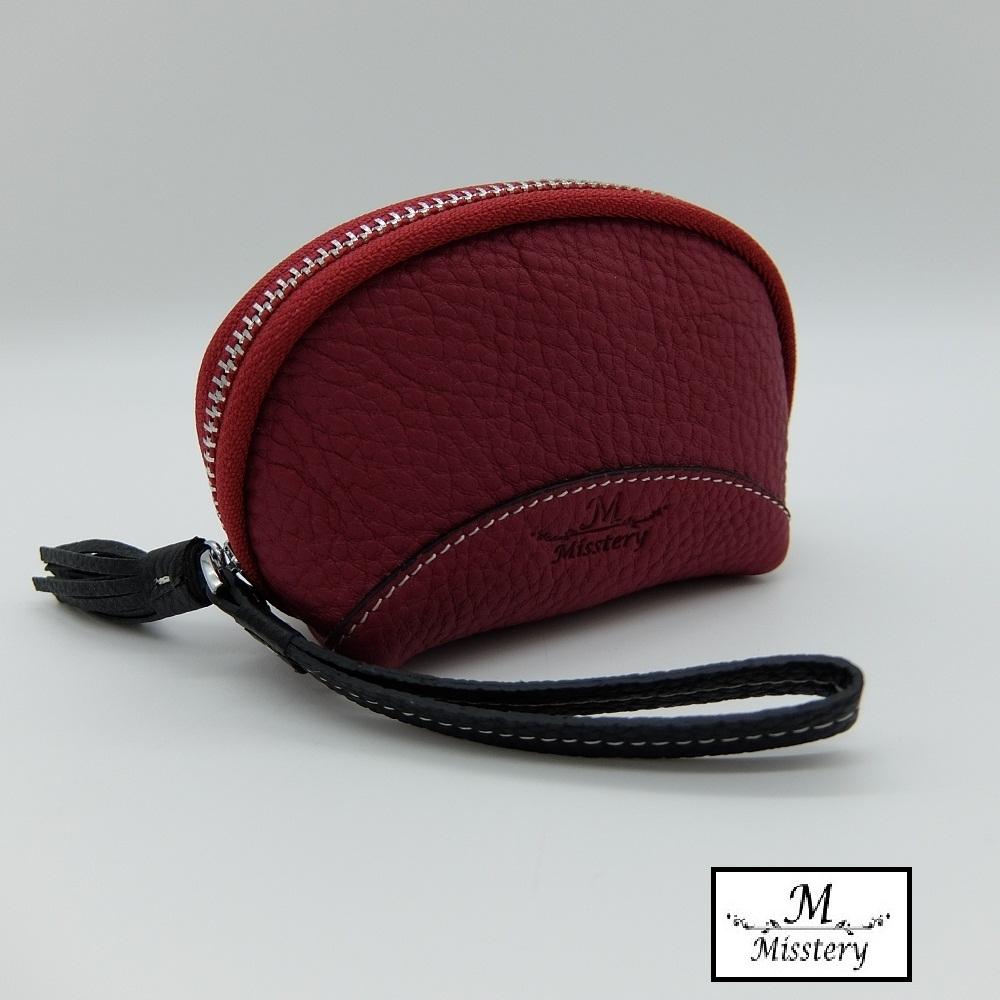 【Misstery】零錢包進口牛皮貝殼造型小巧零錢包-玫紅(進口牛皮款式)
