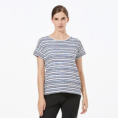 【HAKERS 哈克士】女 抗UV快乾條紋圓領衫-軍藍條