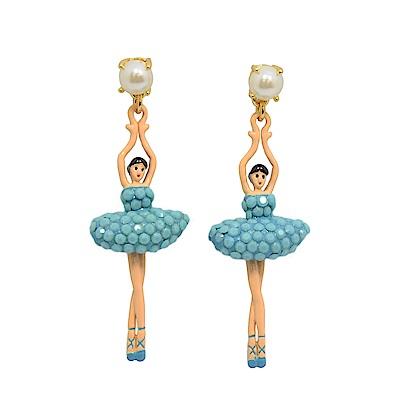 Les Nereides 優雅芭蕾舞女孩系列 白色珍珠綠松石藍水鑽舞者耳針式耳環