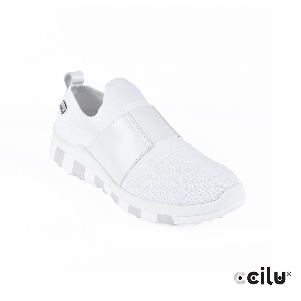 CCILU 彈性織布運動休閒鞋-男款-301301027白色