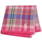 RALPH LAUREN POLO 刺繡LOGO格紋雙面用小方巾(粉紅系)