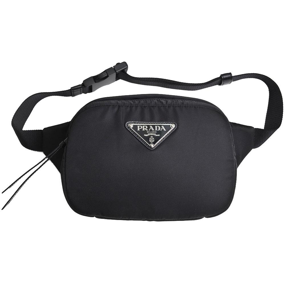 PRADA MARSUPIO 經典金屬三角牌LOGO尼龍肩背/腰包(黑)