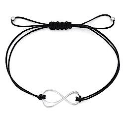 萬寶龍Infiniment Votre 無限 純銀手鏈-黑編織繩