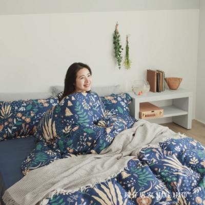 翔仔居家 台灣製 100%天絲兩用舖棉被套&床包4件組-夏夜 (加大)