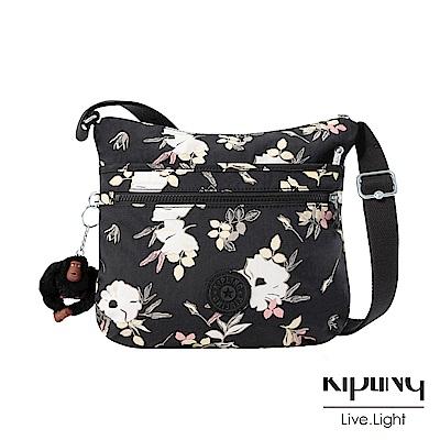 Kipling 沉靜黑浪漫花卉前拉鍊側背包-ARTO