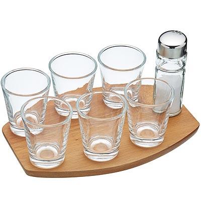《KitchenCraft》木盤+烈酒杯8件(50ml)
