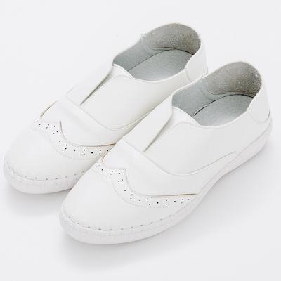 River&Moon中大尺碼-韓版超軟縫線懶人可後踩小白鞋