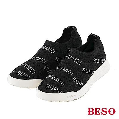 BESO 時尚標語 燙鑽輕量休閒鞋~黑