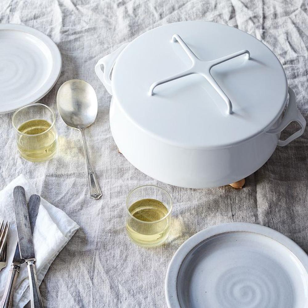 DANSK 琺瑯雙耳燉煮鍋-5.5公升(白色)
