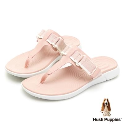 Hush Puppies 人氣輕量魔鬼氈夾腳拖鞋-粉色