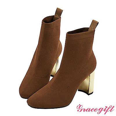 Grace gift X Wei唐葳-金屬造型跟針織襪靴 咖
