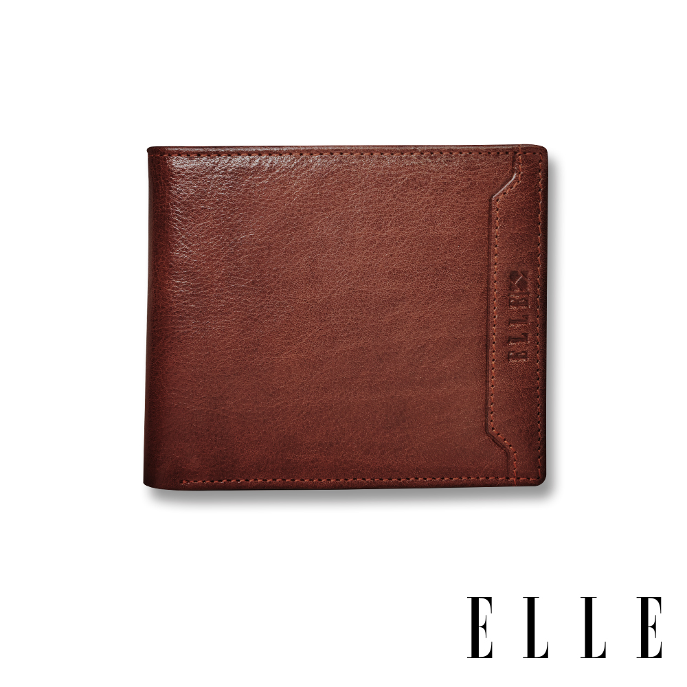 ELLE HOMME 壓紋Logo系列-3卡上翻窗格真皮皮夾/短夾/零錢袋- 紳士棕