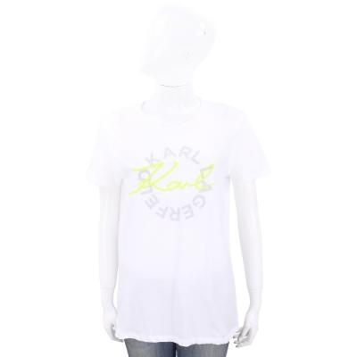 KARL LAGERFELD Neon Lights 螢光草寫字母白色棉質T恤