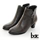【bac】中性時尚側邊圓環裝飾拉鍊粗跟短靴-咖啡色 product thumbnail 1