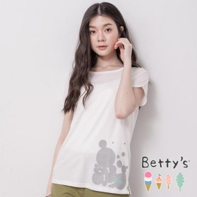 betty's貝蒂思 活潑圓點印花側開衩T-shirt(白色)
