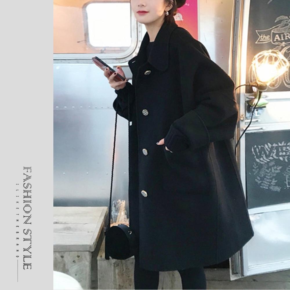2F韓衣-簡約大鈕扣保暖毛呢外套-2色(M-2XL)