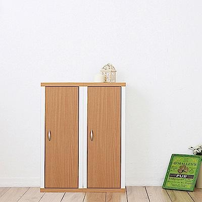 兩入一組日系雙色六格附門厚板收納書櫃(33x30x90cm)