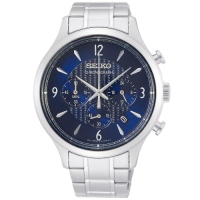 SEIKO 精工CS 時尚三眼計時手錶SSB339P1-藍X銀/43mm