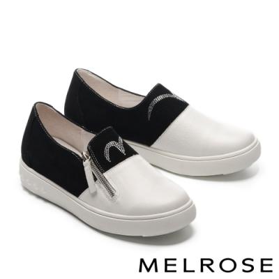 休閒鞋 MELROSE 魅力閃耀晶鑽異材質拼接拉鍊厚底休閒鞋-白