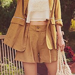 IREAL琥珀釦棉麻高腰顯瘦打摺西裝褲