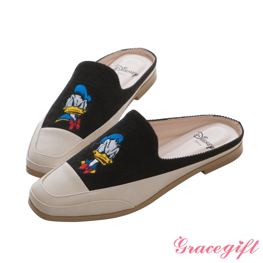 Disney collection by gracegift-迪士尼厭世唐老鴨電繡方頭穆勒鞋 黑