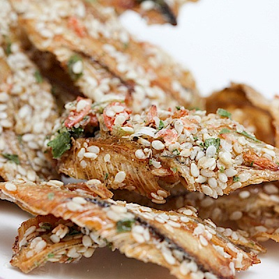 金梓食品‧青蔥蝦黃金魚(170g/包,共兩包)