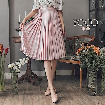 東京著衣-yoco 時髦百搭柔順亮面百褶綁帶長裙-S.M.L(共二色)