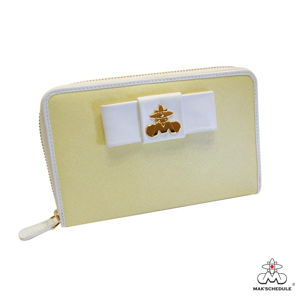MAK SCHEDULE- 淡彩春色系列 粒粒牛皮白邊全拉式護照寬版長夾 - 小鵝黃