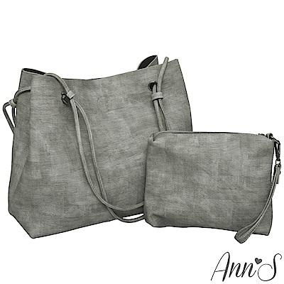 Ann'S訂製雲彩皮革肩背大容量托特包-灰(附手拿包)