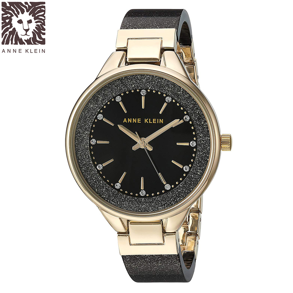 Anne Klein 紐約時尚流沙黑金玻麗腕錶-黑色x32mm AK-1408BKBK