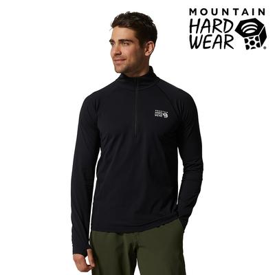 【美國 Mountain Hardwear】Mountain Stretch 1/2 Zip 彈性快乾立領半拉鍊長袖排汗衣 男款 黑色 #1942331