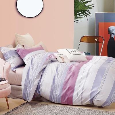 3-HO 雪紡棉 單人床包/枕套 二件組  舒活-紫