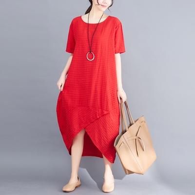 米蘭精品 連身裙短袖洋裝-純色百搭休閒棉麻女裙子3色73xz49
