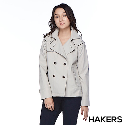 【HAKERS 哈克士】女款 防水短版外套(夏朵灰)