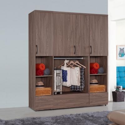 D&T 德泰傢俱 CANDA胡桃木5.7尺半開放衣櫃組-173x57x203cm